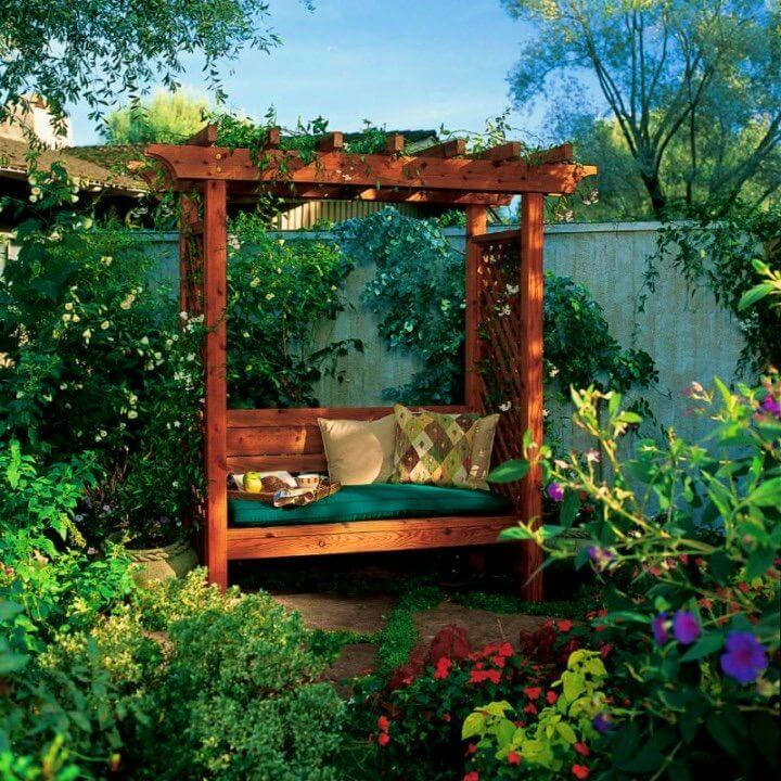 Adorable DIY Garden Arbor Bench