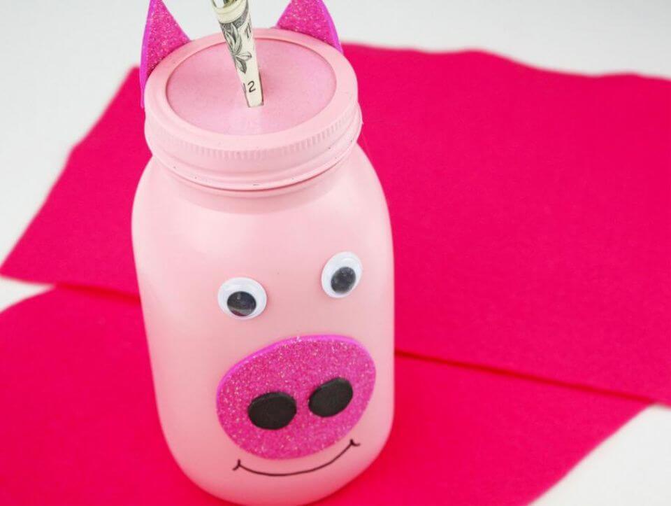 Awesome DIY Mason Jar Piggy Bank Craft