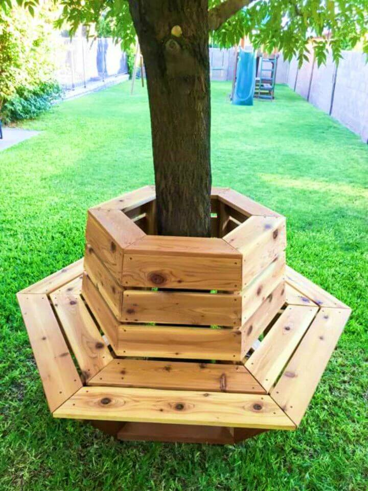Build a Hexagon Cedar Bench