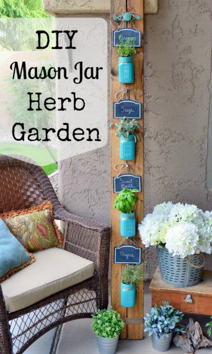 Cute DIY Mason Jar Herb Garden