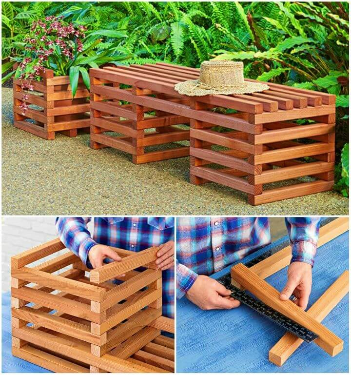 DIY Box Crib style Outdoor Bench and Planter