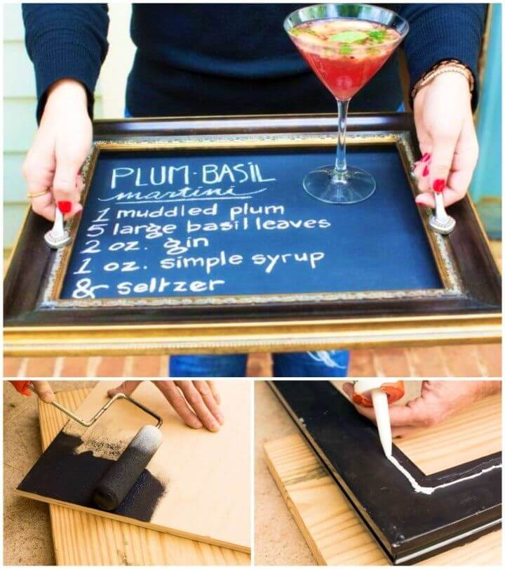 DIY Chalkboard Serving Trays From Old Picture Frames