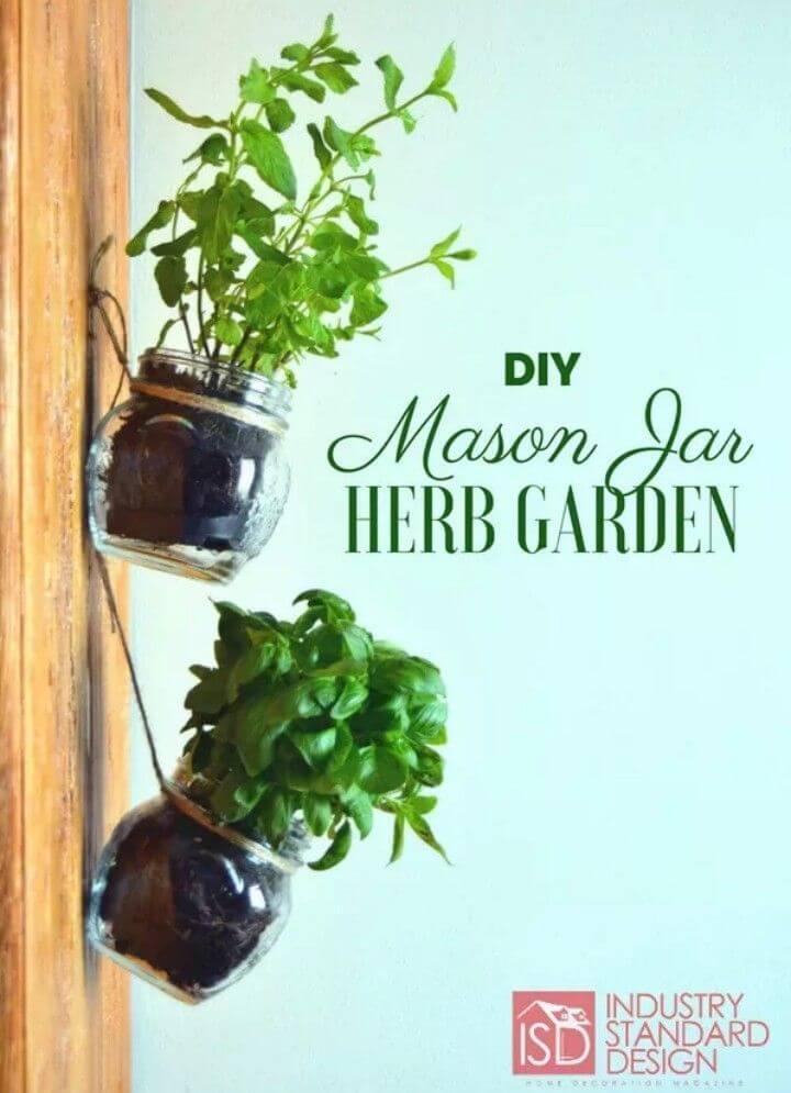 DIY Hanging Mason Jar Herb Garden Tutorial