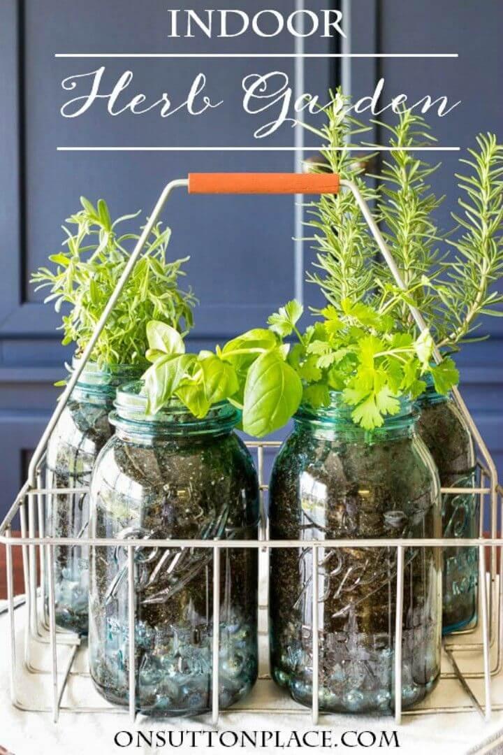 DIY Indoor Mason Jar Herb Garden