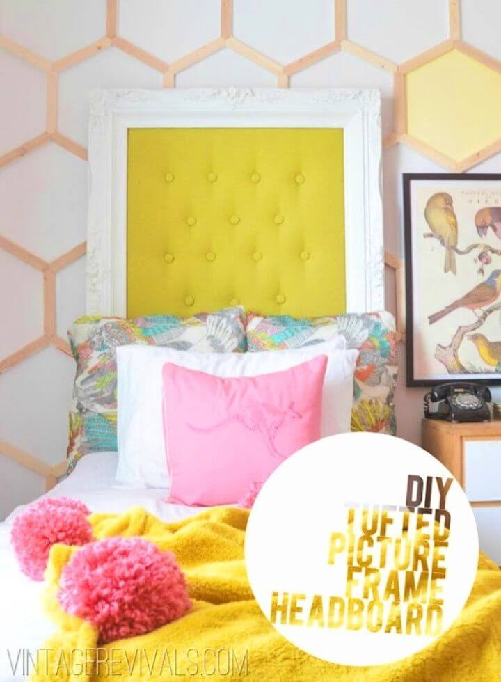 DIY Tufted Picture Frame Headboard