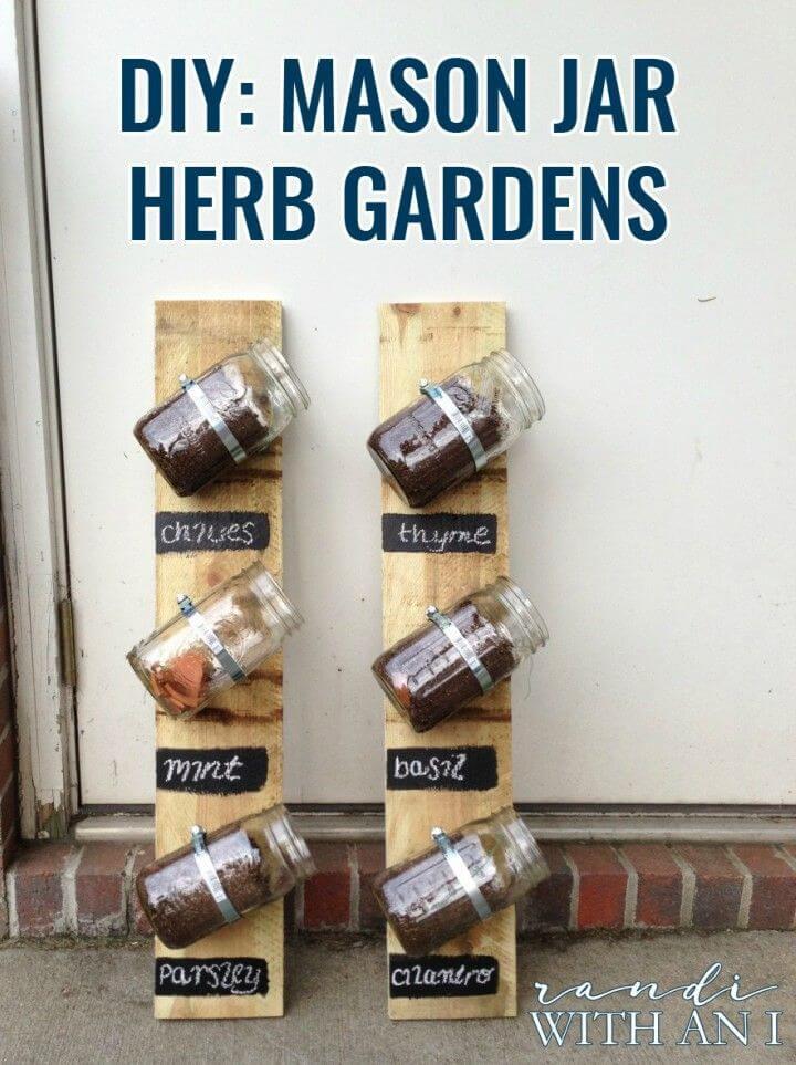 DIY Wall mounted Mason Jar Herb Gardens