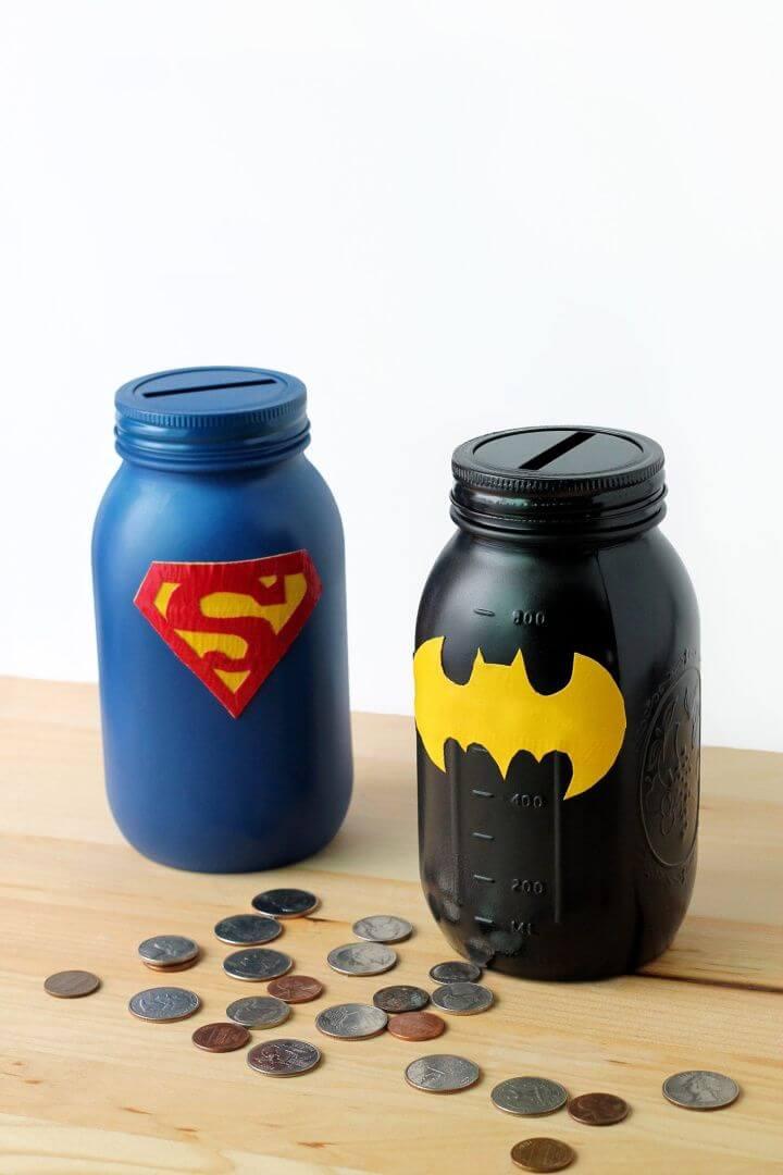 DIY a Mason Jar Superhero Bank