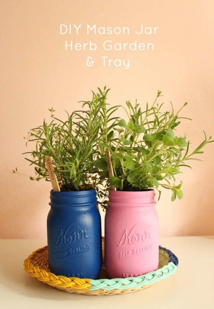 Easy DIY Painted Mason Jar Herb Garden