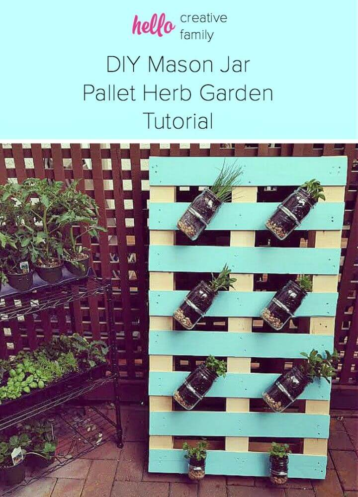 Easy DIY Pallet Mason Jar Herb Garden