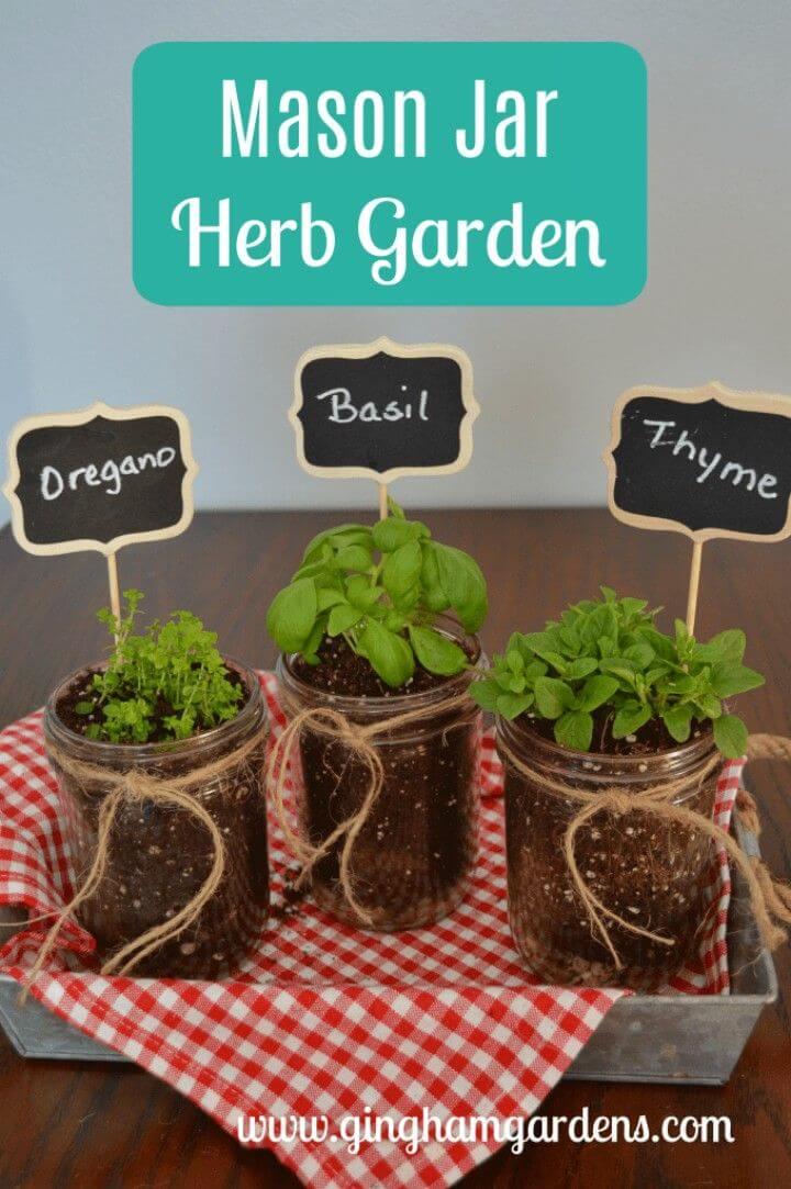 Easy to Make Mason Jar Herb Garden