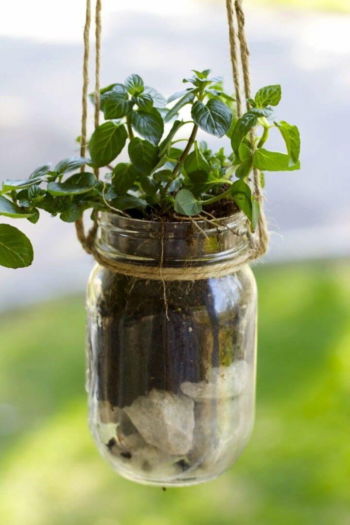 How to DIY Mason Jar Hanging Herb Planter