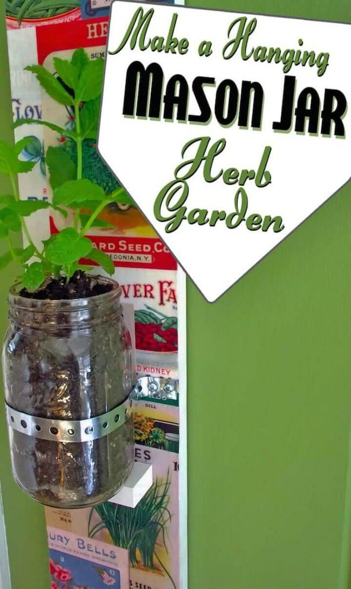 Make Hanging Herb Garden with Mason Jars