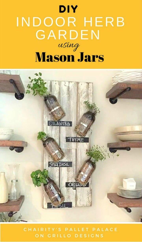 Make Indoor Herb Garden Using Mason Jars