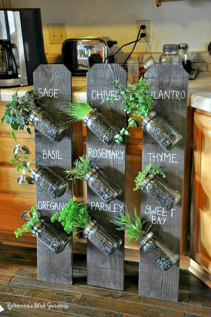 Make Mason Jar Vertical Herb Garden