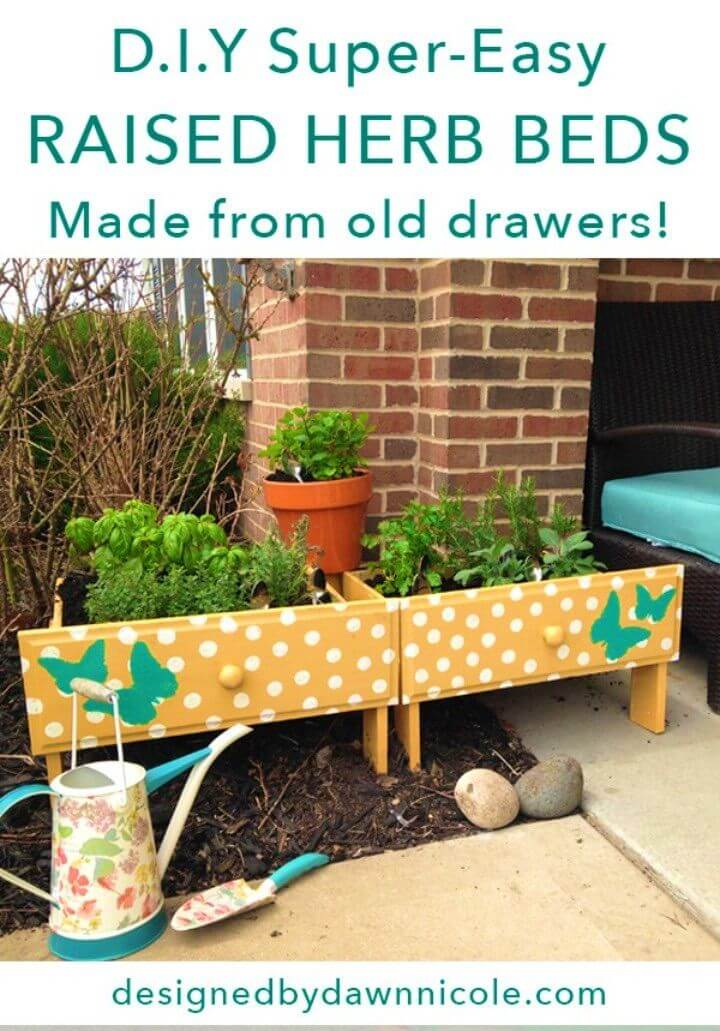 Make Raised Herb Beds From Old Drawers