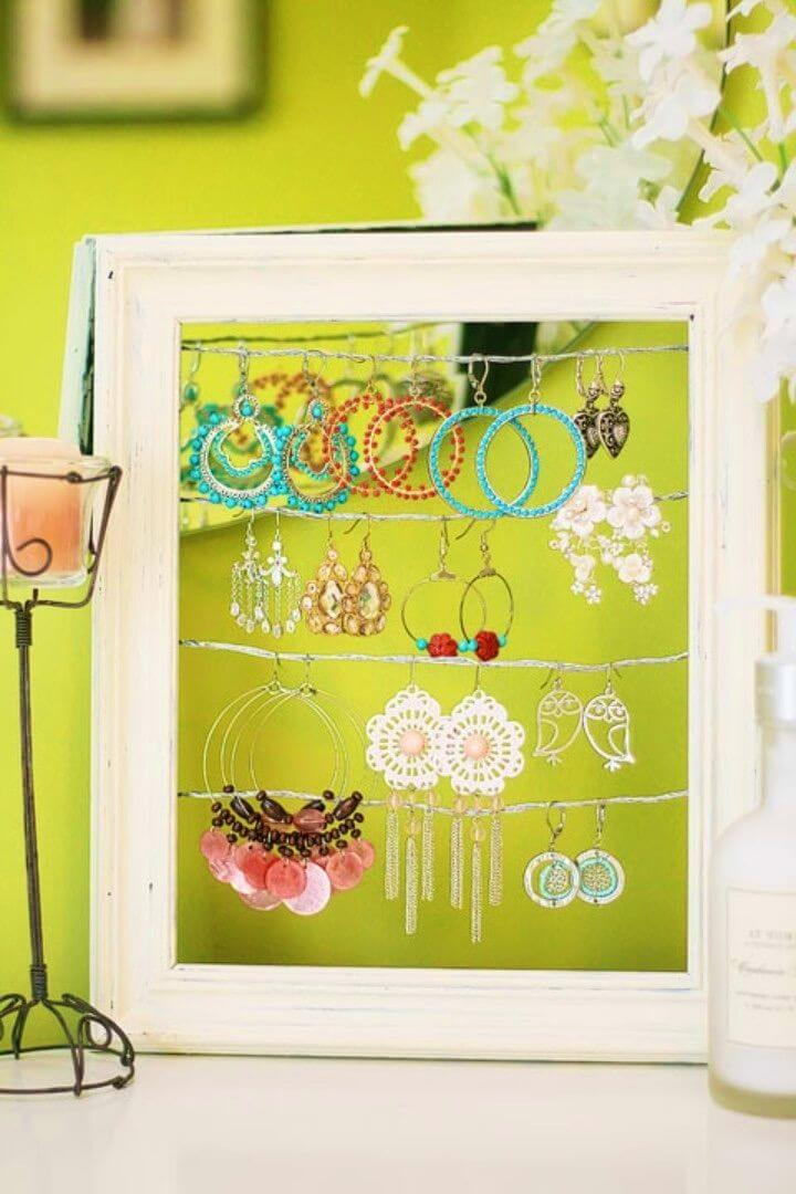 Quick DIY Shabby Chic Dangly Earring Display
