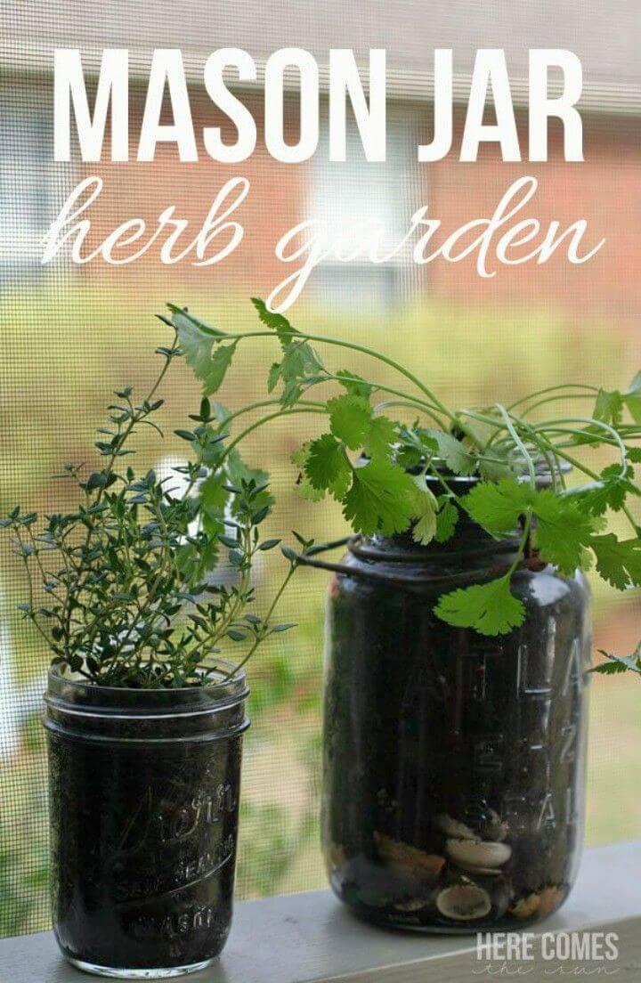 Quick DIY Space Saving Mason Jar Herb Garden