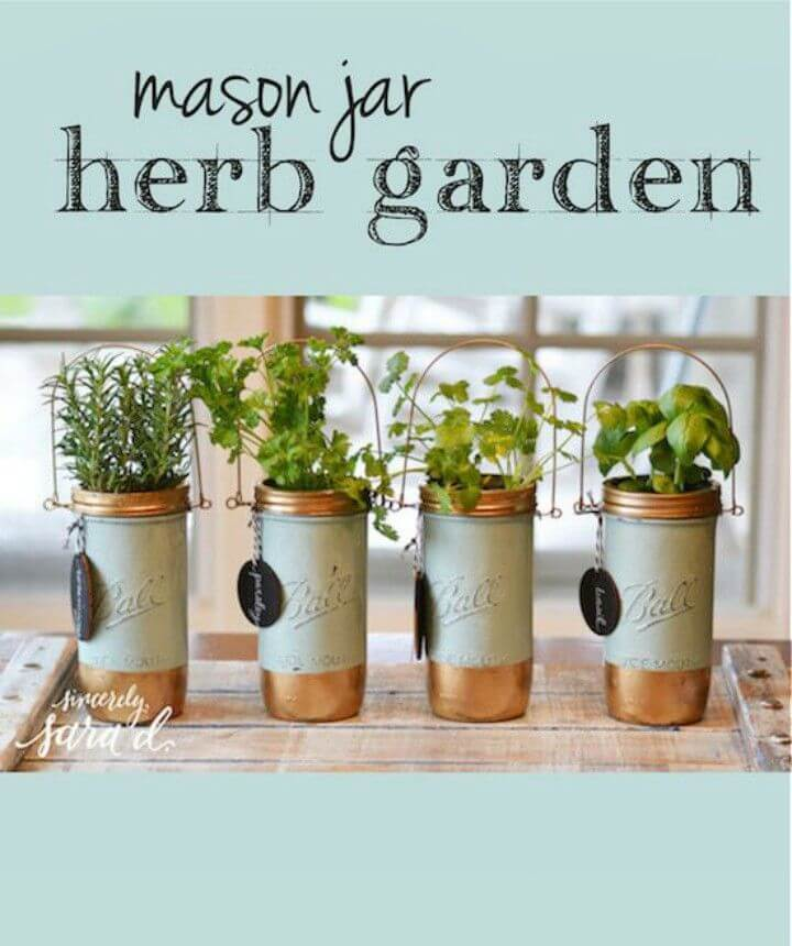 Simple DIY Mason Jar Herb Garden