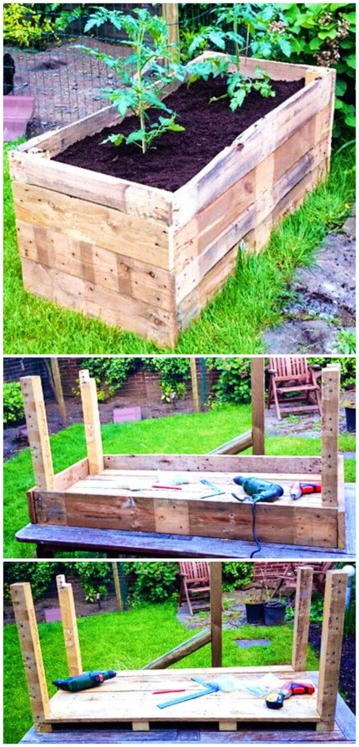 Turn Wooden Pallet into Raised Garden Planter