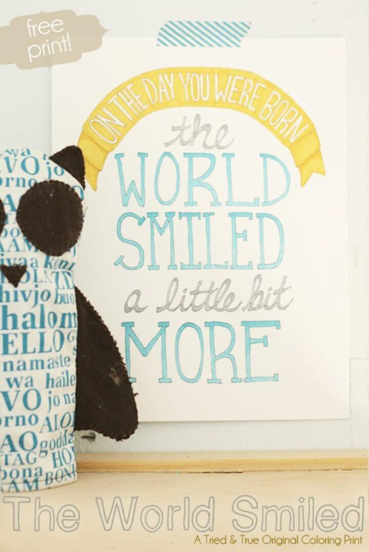 """""""THE WORLD SMILED"""" Coloring Print"""