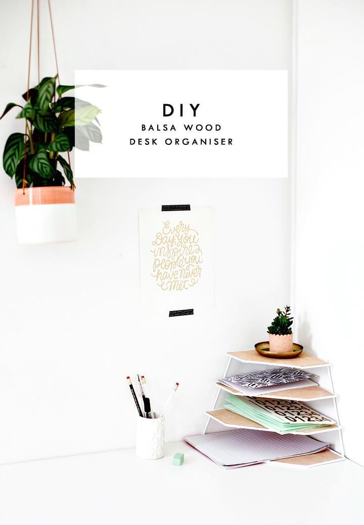 Adorable DIY Balsa Wood Desk Organizer