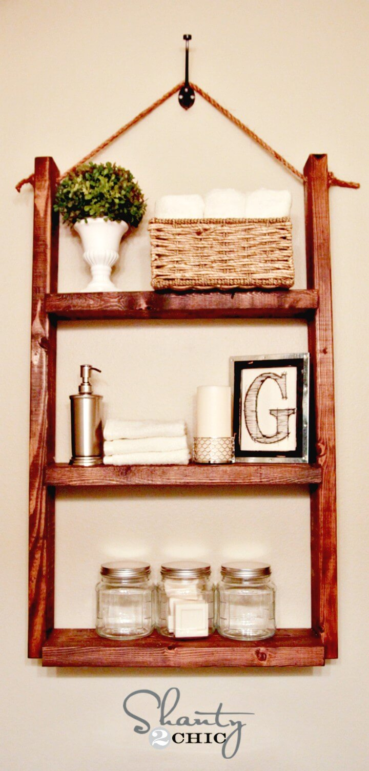 Adorable DIY Hanging Bathroom Shelf For Only $10