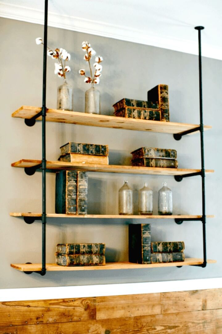DIY Open Pipe Wooden Shelving