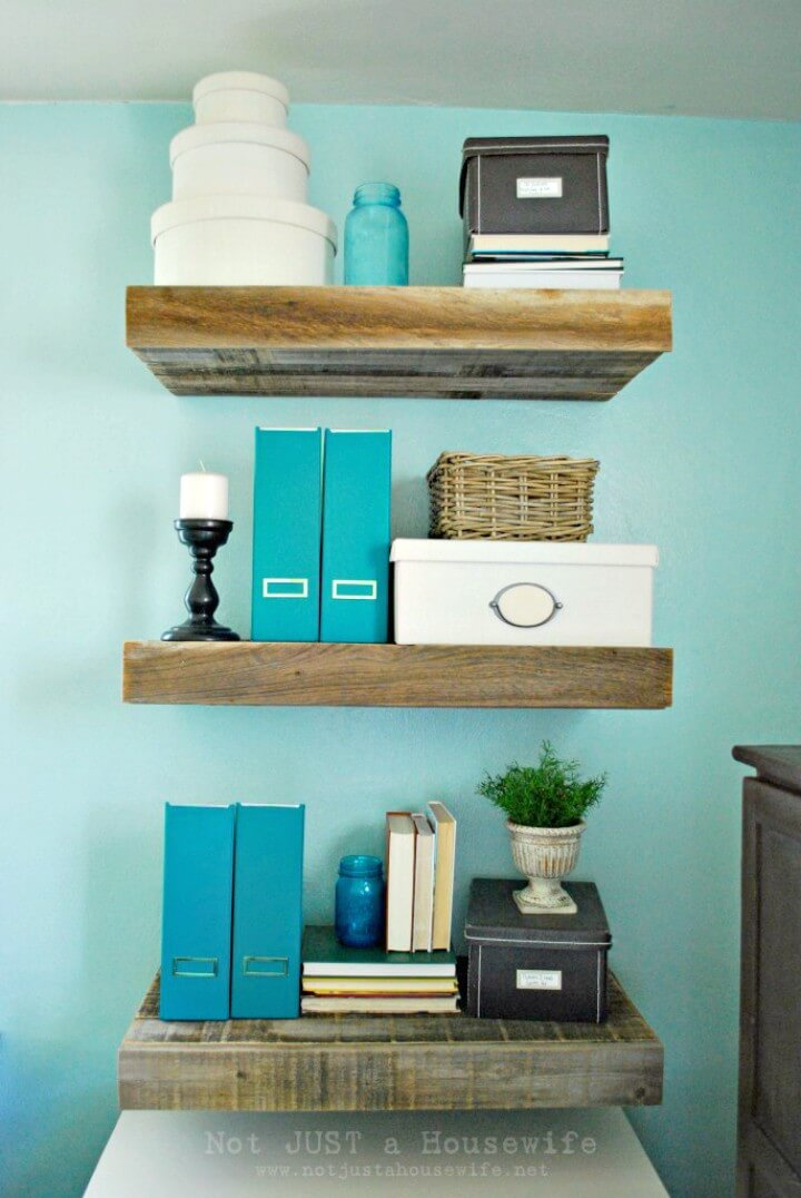 Adorable DIY Reclaimed Wood Floating Shelves