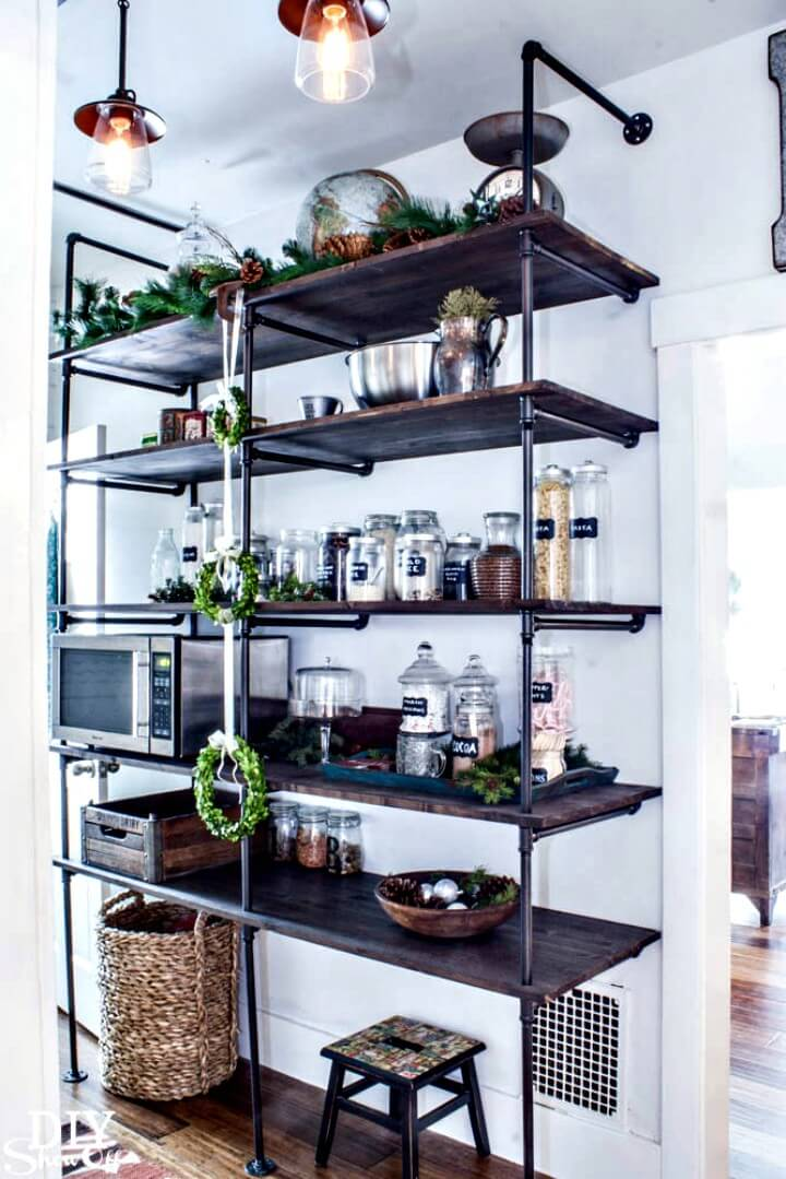 DIY Wooden Industrial Pipe Shelving Unit