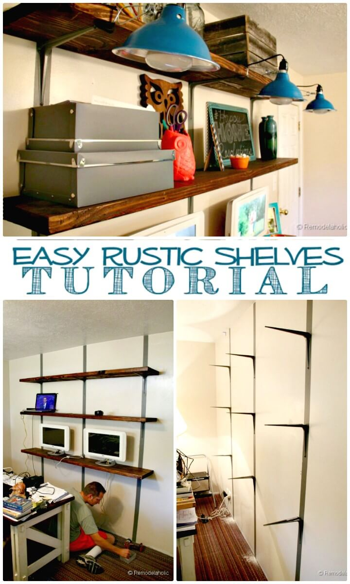 Adorable and Easy DIY Rustic Wall Shelves