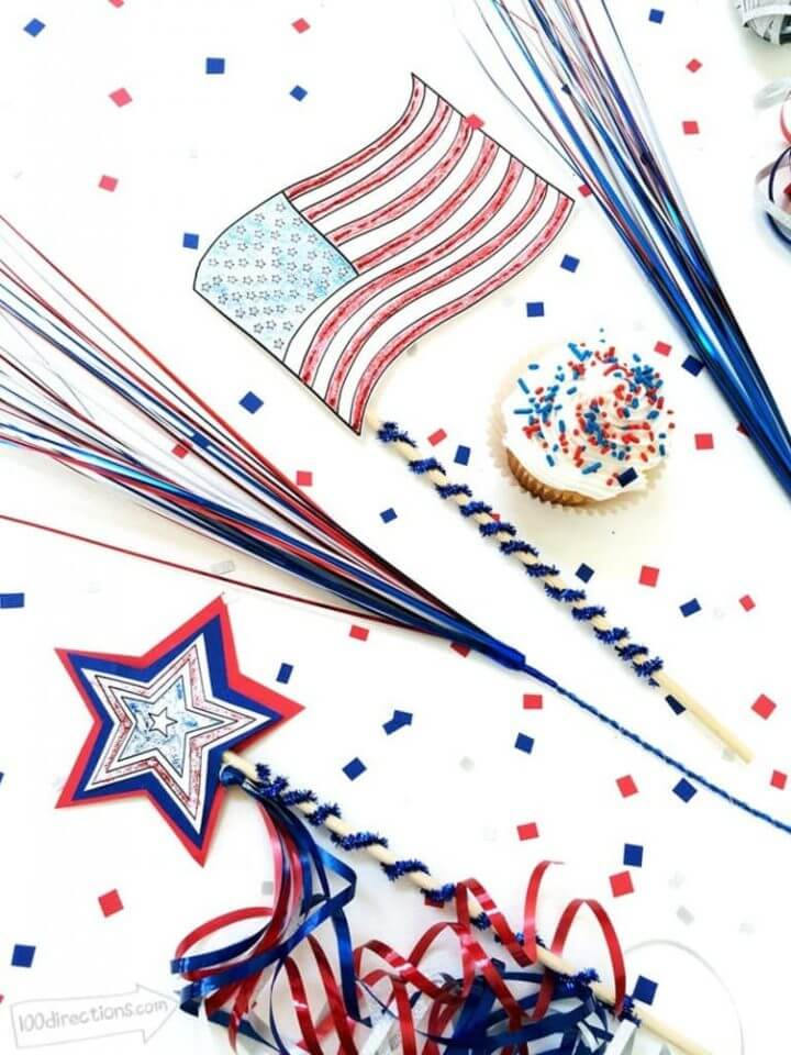 American Flag And Paper Sparkler Wands