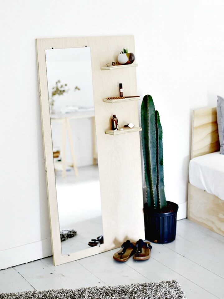 Beautiful DIY Plywood Floor Mirror + Shelves