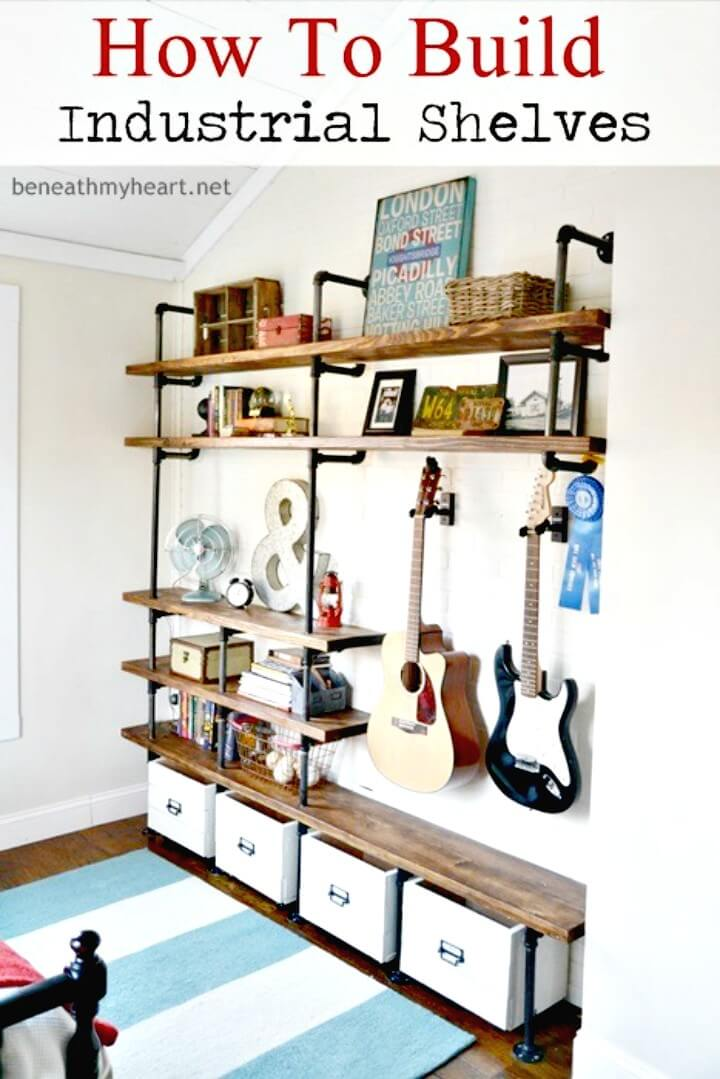 Build Industrial Wooden Shelves - DIY