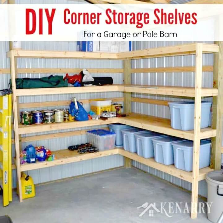 Build A Corner Shelves for Garage or Pole Barn Storage - DIY