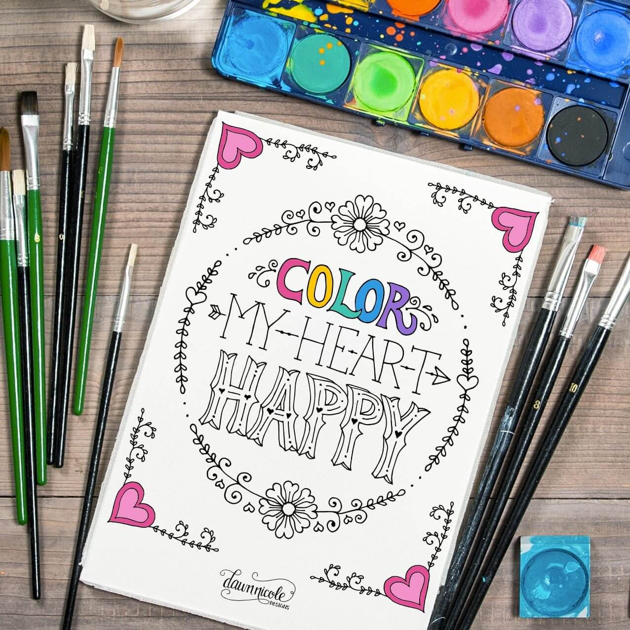 Color My Heart Happy Coloring Page
