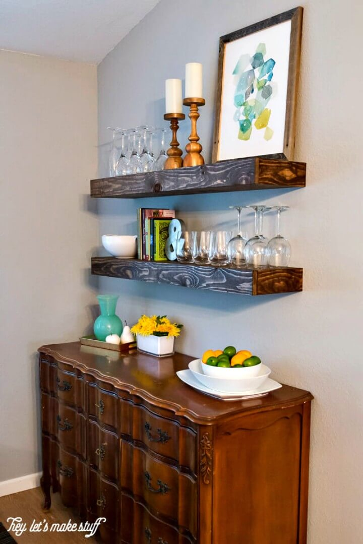 DIY Dining Room Storage With Floating Shelves