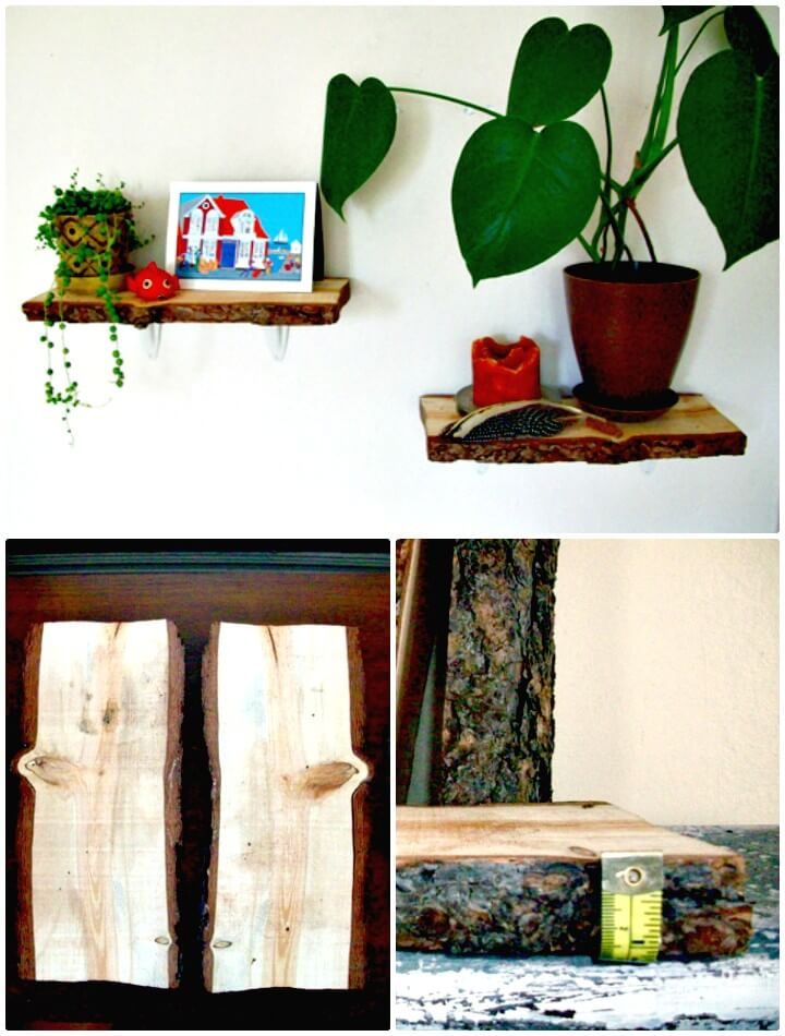 DIY Rachel's Rustic Log Wood Shelves