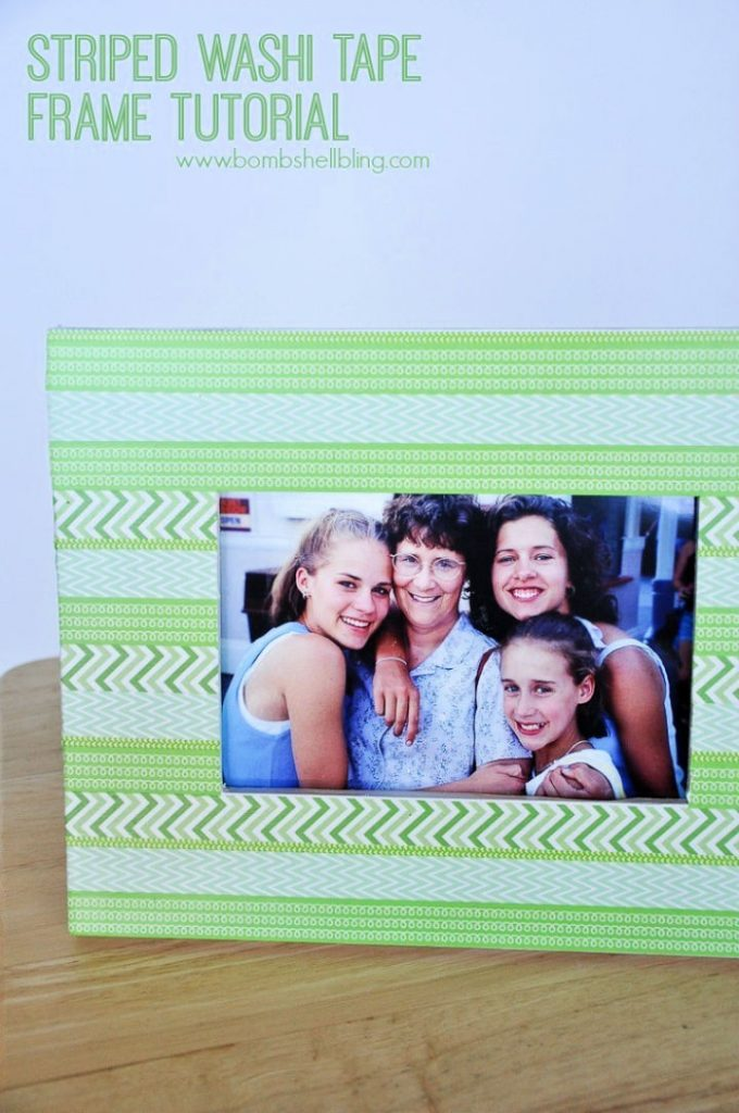 DIY Striped Washi Tape Frame