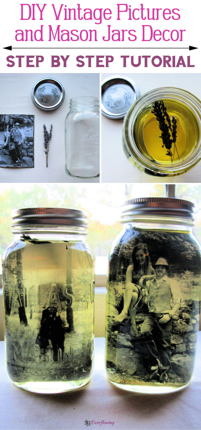 DIY Vintage Pictures and Mason Jars Decor Idea