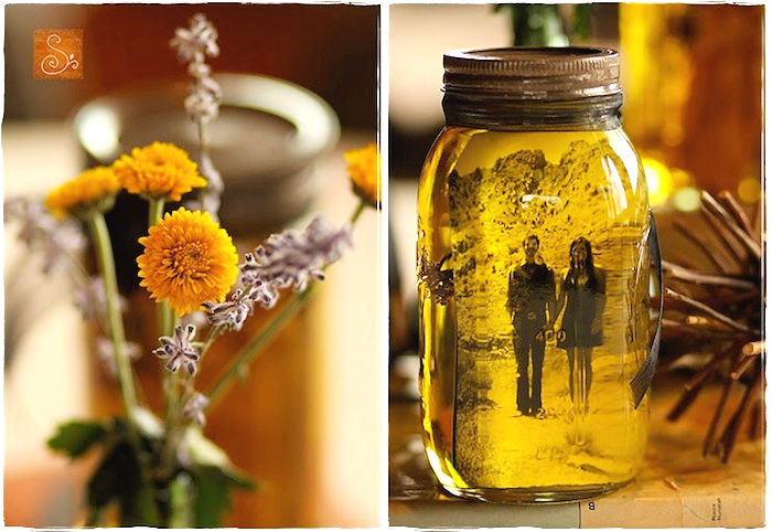 DIY Vintage Pictures and Mason Jars Decor
