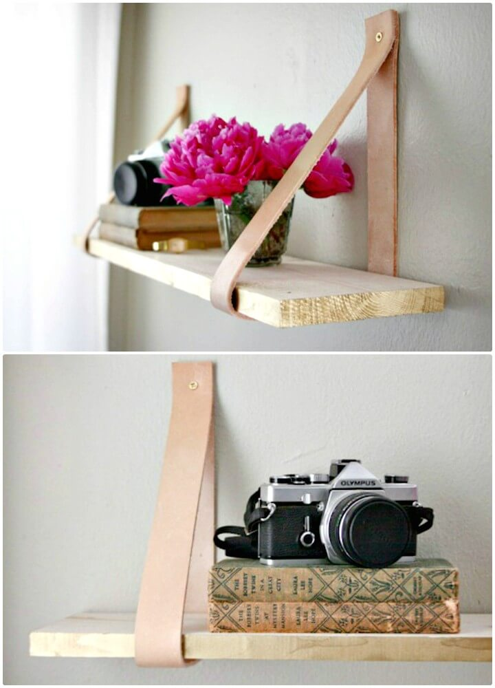 DIY Wood & Leather Suspended Shelf