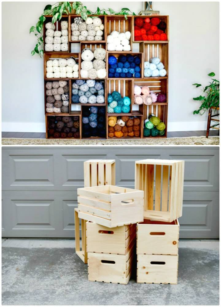 DIY Yarn Storage Shelves Using Wooden Crates