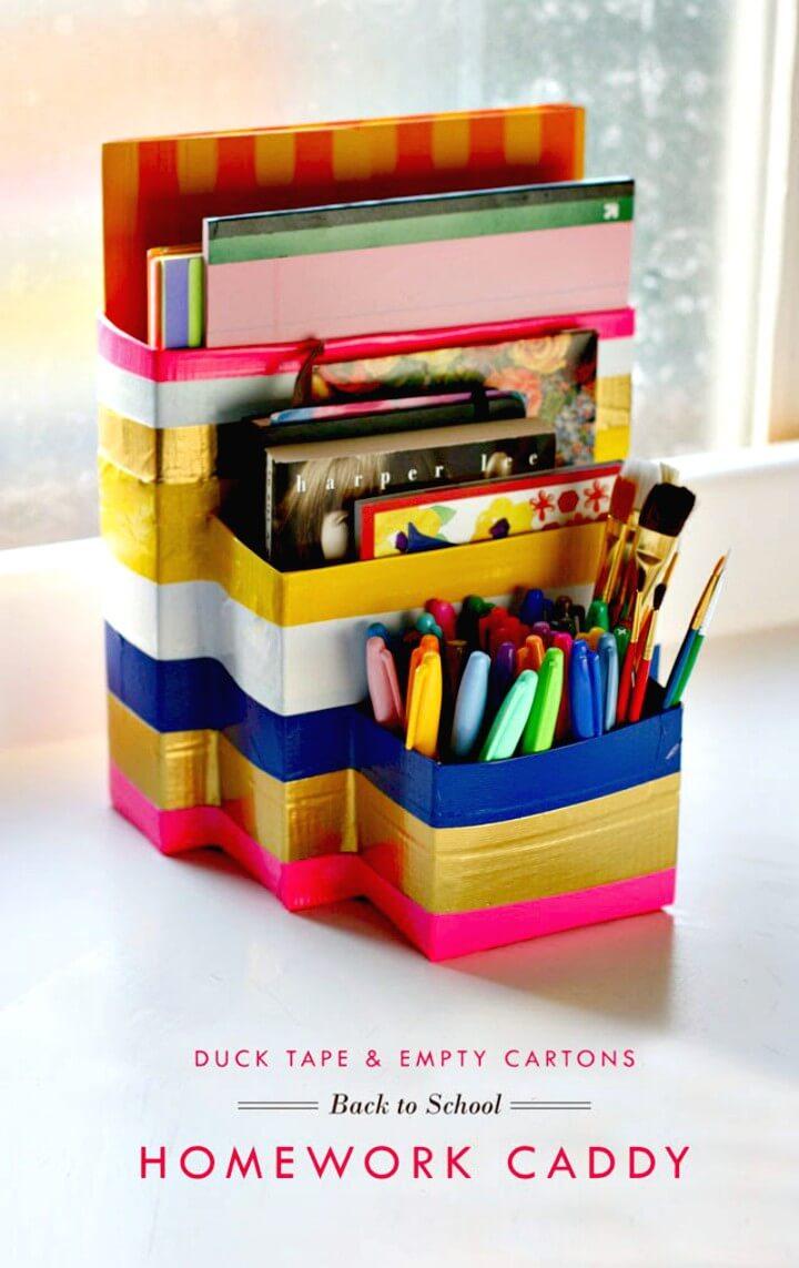 DIY Duck Tape and Cartons Desk Organizer