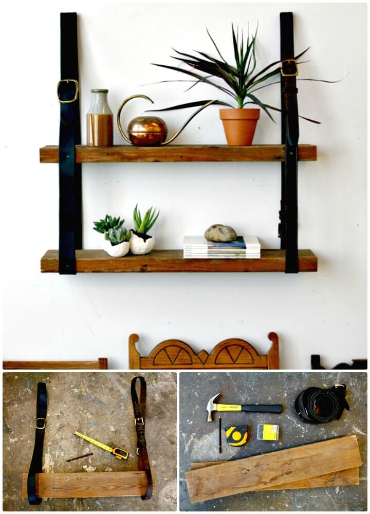 Easy DIY Recycled Leather & Wood Shelf