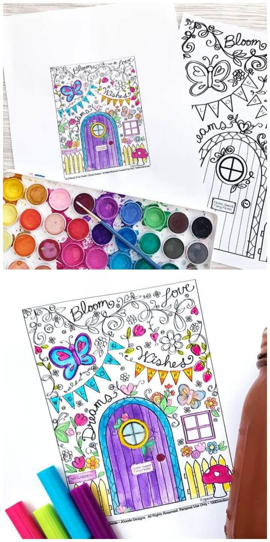 Fairy Garden Coloring Page