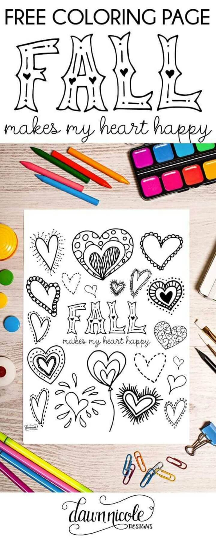 Fall Happy Heart Coloring Page
