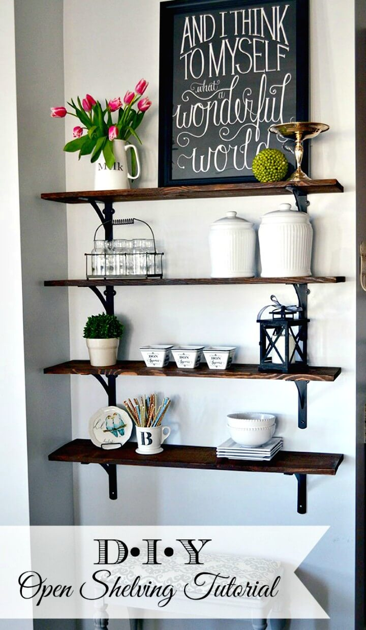 How to DIY Stained Open Shelving and a Giveaway