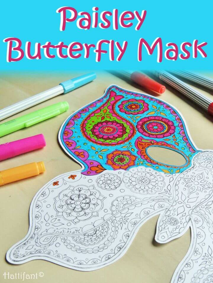 Gorgeous Paisley Butterfly Masks Colouring Pages