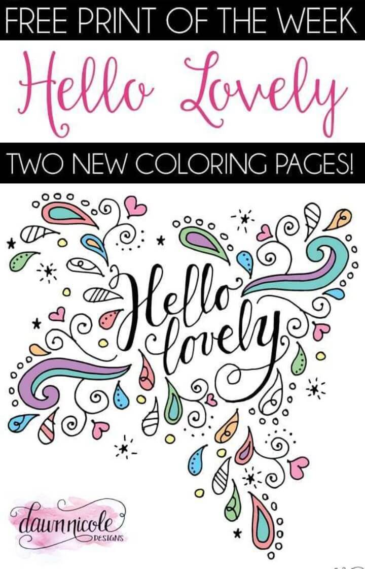 Hello Lovely Coloring Pages