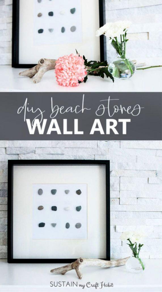 Homemade Beach Stone Wall Art Frame